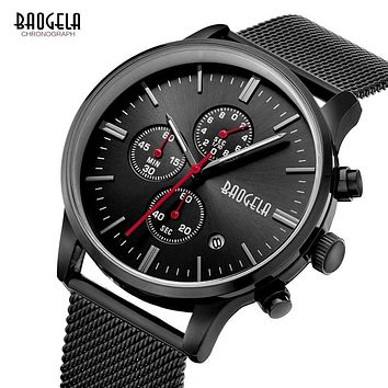 Top Luxury Watches Men black Stainless Steel mesh Quartz-watch Men Sports Watch Chronograph Clock Male