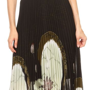 Sakkas Caasi Midi Pleated Light Crepe Skirt with Print and Elastic Waist