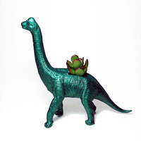 Up-cycled Metallic Emerald Green Apatosaurus Dinosaur Planter