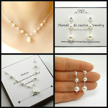 Mother of  Bride Gift, Mother of Groom Gift, Pearl Mother of Bride Jewelry, Mother of Bride Necklace, Sterling, Mothers Jewellery, set of 2