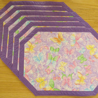 Quilted Placemat  6 set - Butterfly Sparkle Purple  161