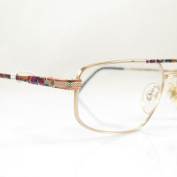 SALE Vintage Eyeglasses  , Sferoflex , Made in Italy , 1980 , Gold And Multicolor , Artistic , Aviator , Nos , sunglasses frames