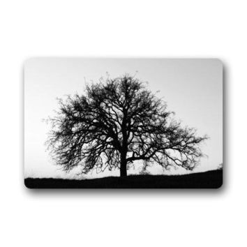 Autumn Fall welcome door mat doormat Abstract Black and White Tree Art Non-woven Fabric  Indoor/Outdoor/Bathroom  Rugs for Home/Office/Bedroom AT_76_7