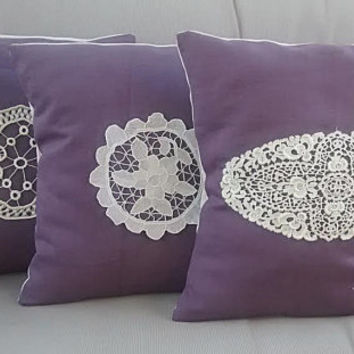 Throw pillow cover set of 3, canvas pillow with crochet lace, handmade purple pillow
