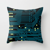 Dark Circuit Board Throw Pillow by House of Jennifer
