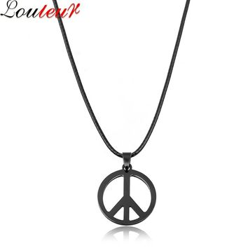 LOULEUR New Hip Hop Stainless Steel Peace Pendant Necklace for Men Black/Brown Long Leather Wax Chain Necklace Men Jewelry