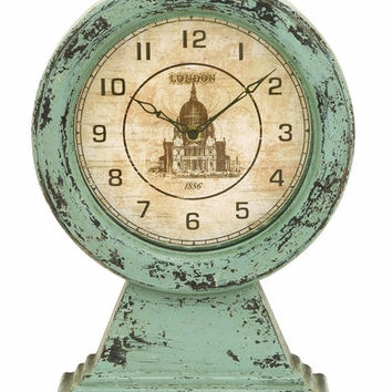 Benzara Antique Vintage London Themed Table Top Clock In Aged Wood