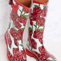 Red Rose Print Long Wellies