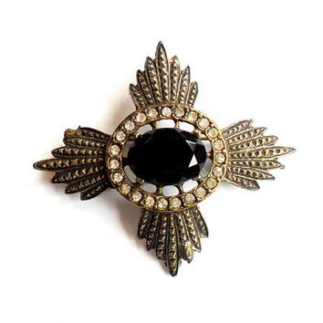 Vintage Heraldic Medal Brooch - Black Rhinestone - Stamped Metal - Royal Military Style - Broach Pin - Sash Cloak - Sparkle Rhinestone