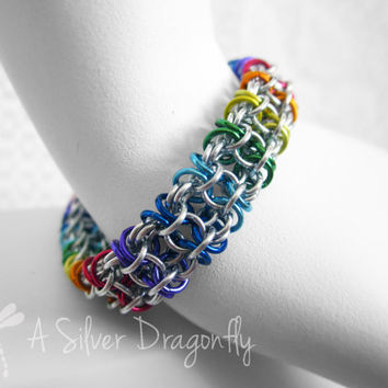 7 Colour Rainbow Aluminum Cascading Wave Chain Maille Bracelet with Sky Blue with Hand Wrapped Clasp - Chainmaille, Chainmail