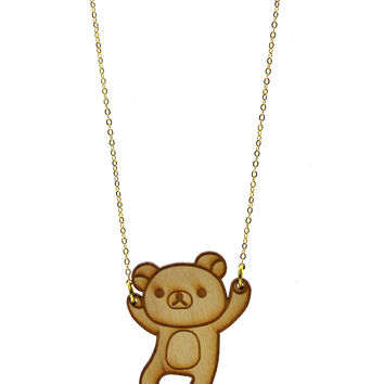 Rilakkuma Body Necklace in Birch Wood