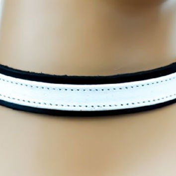 White Strap Choker Gothic Fetish Black Leather Collar