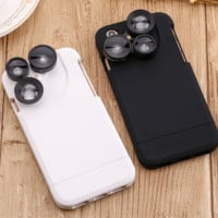 Fish Eye Wide Angle Macro 4 In1 Camera Lens Case For iPhone 6 6S Plus 6 6S 7 7 Plus Photographer Accessories