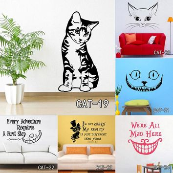 Alice In Wonderland Wall Sticker Cheshire Cat Quotes Vinyl Decals Room Wall Art Decoration DIY Home Decor Free Shipping