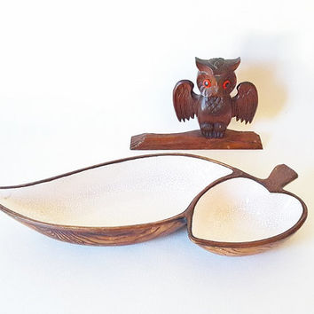 Midcentury Treasure Craft Serving Dish Chip Dip Bowl Midcentur California Pottery Wood Grain Leaf Serving Dish Modern Pottery Home Decor