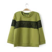 Green Long Sleeve Contrast Lace Sweatshirt S