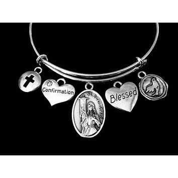 Saint Joan of Arc Confirmation Jewelry Expandable Charm Bracelet Blessed Silver Adjustable Bangle Catholic Cross Gift Dove