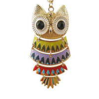 Beautiful color black eyes owl necklace by fenasd99321 on Etsy