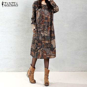 ZANZEA Women Vintage Mid-calf Length Dress 2017 Autumn Casual Loose Long Sleeve O Neck Print Dress Vestidos Plus Size Oversized