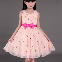 Children Wear 2015 Summer New Korean Ladies Princess Dress Big Virgin Girls Dresses
