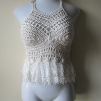 Crochet Offwhite Lace peplum halter top,  festival top, boho chic, beach cover up, gypsy top, cotton