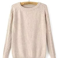Apricot Cable Knit Long Sleeve Sweater