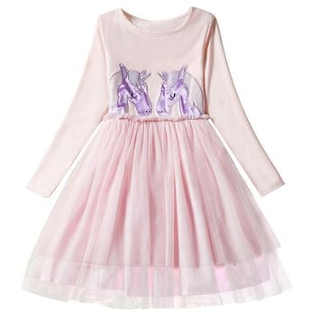Kids Cotton Long Sleeves Unicorn Dresses for Girls Princess Girl Christmas Party Clothing Toddler Girls New Year tutu Gown 3-8T
