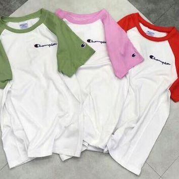 Champion Fashion New Colorful Sleeve & White Fresh Color Women Men Tee Shirt Top Three Color