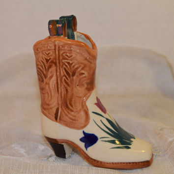 Cowboy Boot Planter Vintage Miniature Painted Boot Air Plant Holder Succulent Planter Country Western Boot Figurine Wild West Decoration