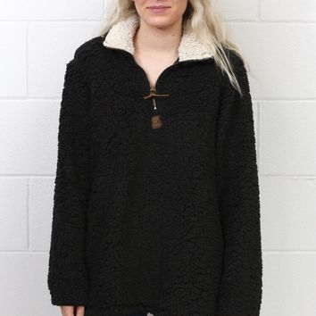 Snuggle is Real Sherpa Pullover w/ Pockets {Black}