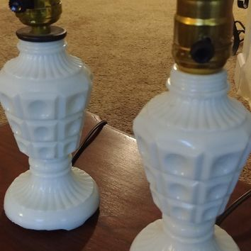 Vintage Milk Glass Bedroom Table Vanity Lamps (Set of 2)