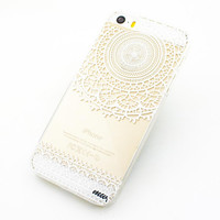"Clear Plastic Case Cover for iPhone 6 (4.7"") Mandala Sun Lace tribal vintage mayan aztec floral"
