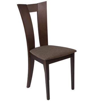 Talbot Wood Dining Chair with Slotted Back and Fabric Seat