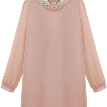 Pink Beaded High Neckline Long Sleeve Mini Shift Dress