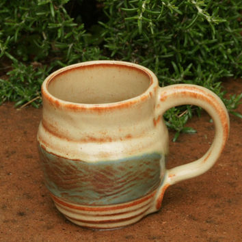 Tan and Sage Green Coffee Mug - hand thrown stoneware pottery