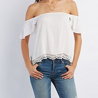 OFF-THE-SHOULDER CROCHET-TRIM TOP