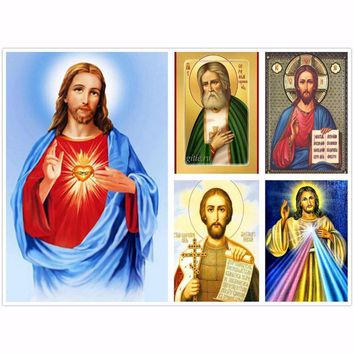 Full Religion 5D DIY Diamond Painting Jesus Christ Diamond Embroidery Cross Stitch Mosaic Round Rhinestone Home Decoration Art