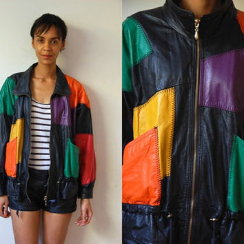 Vtg Colorful Patched Black Leather Bomber Jacket