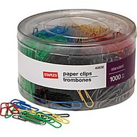 Staples® #1 Size Vinyl-Coated Paper Clips, 1000/Tub