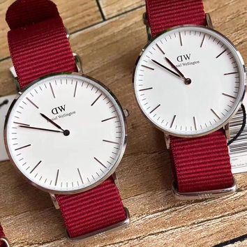 HCXX D022 Daniel Wellington DW Simple Casual Lovers watch Red White
