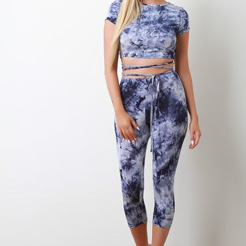 Tie Dye High Waisted Capri Leggings