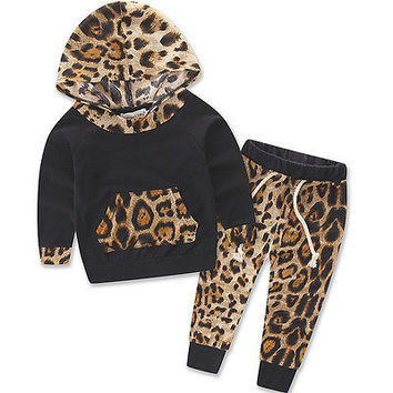 Leopard Baby Girls Kids Spring Sweatshirt Long Sleeves Tops+Pants 2pcs Outfits Tracksuit UK Cotton 0-24M