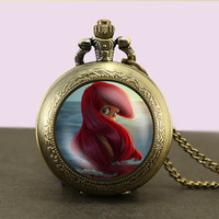 Little Mermaid, Locket necklace,Little Mermaid Pocket Watch Necklace,Little Mermaid fob watch locket necklace