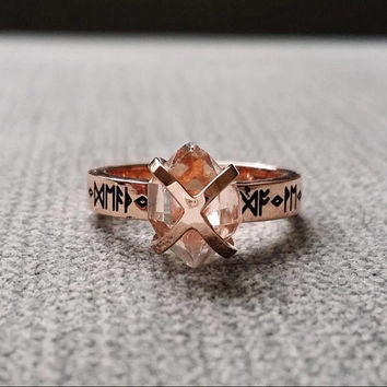 "Rustic Herkimer Diamond Engagement Ring Nordic Runes Terminated Quartz Old World Norse Mythology Viking 14K Rose Gold Hammered ""The Frigg"""