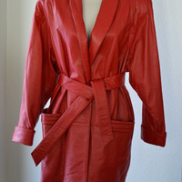 Vintage Wilson's Cherry Red Leather Coat