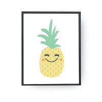 Pineapple Poster, Baby Art, Children Learning, Kids Print, Nursery Art, Education Poster, Cute Pinneapple, Illustration Poster, Fruit Print