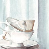 Original watercolor painting midnight white blush tea cups art