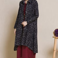 Black Floral Print Long Sleeve Asymmetric Hem Shirt Dress