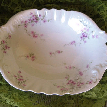 Antique Haviland Pink Roses Vegetable Bowl Good, circa 1900 Haviland Pink Flowers China,
