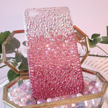 Bling Ombre Pink crystal fit iphone 4 handmade w/ Swarovski element
